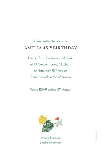 Birthday Invitations Tropical garden green - Page 2