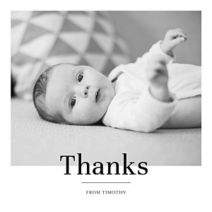 Modern chic white photo baby thank you cards