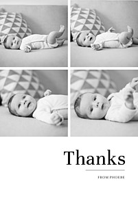 Modern chic 4 photos white christening baby thank you cards