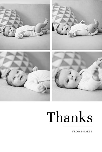 Baby Thank You Cards Modern chic 4 photos white
