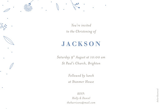 Christening Invitations Elegant foliage blue - Page 2