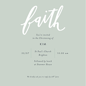 Faith green christening invitations