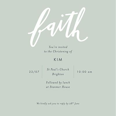 Christening Invitations Faith green finition