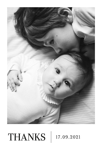 Baby Thank You Cards Modern photo portrait white finition