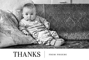 Modern photo landscape white christening baby thank you cards
