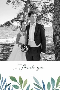Moonlit meadow blue photo wedding thank you cards