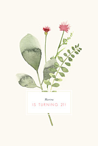Spring blossom portrait cream birthday invitations