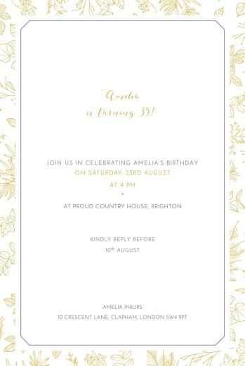 Birthday Invitations Botanical border yellow
