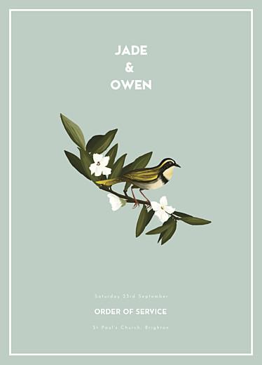 Wedding Order of Service Booklets The botanist blue
