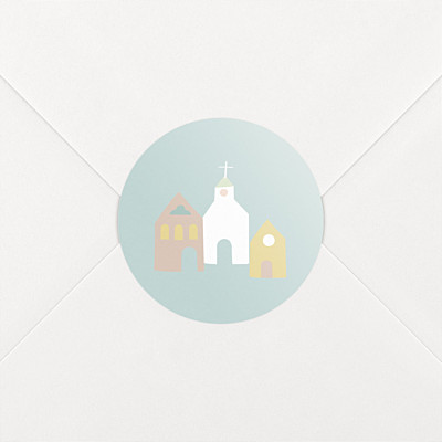 Village chapel blue christening stickers