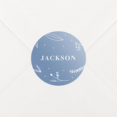Elegant foliage blue christening stickers