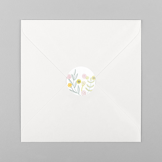 Christening Stickers Rustic floral white - View 1