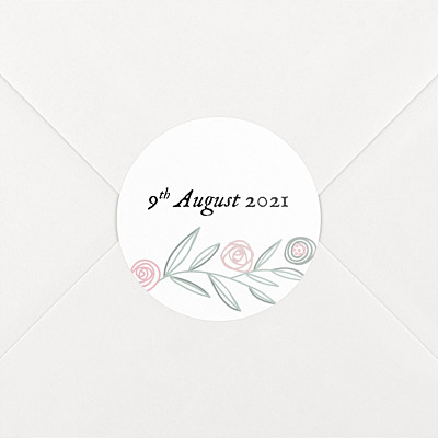 Rustic floral white christening stickers