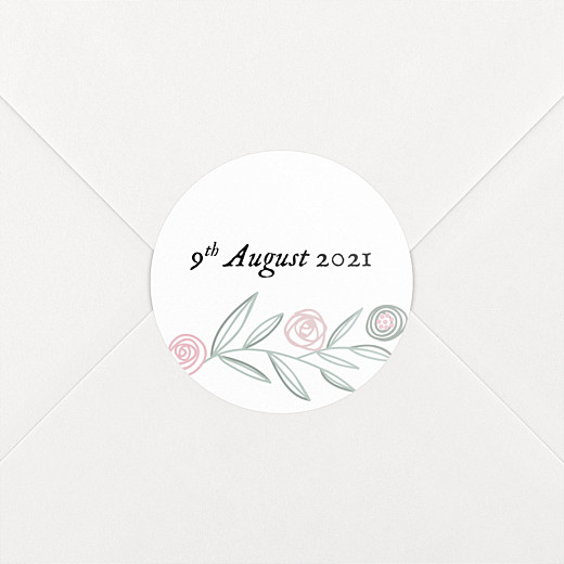 Christening Stickers Rustic floral white - View 2