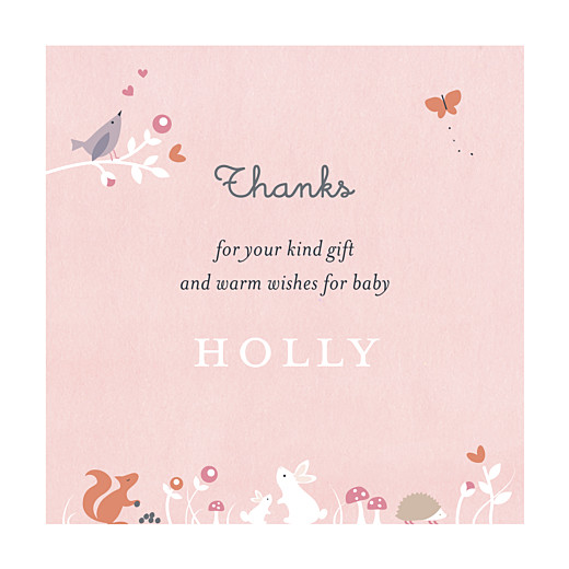 Baby Thank You Cards Enchanted forest rose