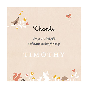 Enchanted forest beige beige baby thank you cards