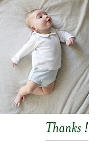 Refined white baby thank you cards