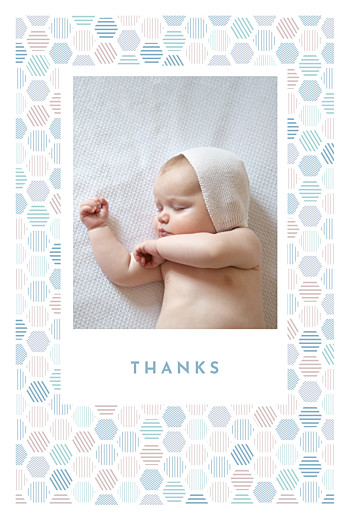 Baby Thank You Cards Hexagon (4 pages) blue