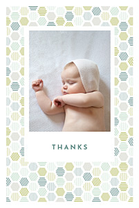 Hexagon (4 pages) green grey baby thank you cards
