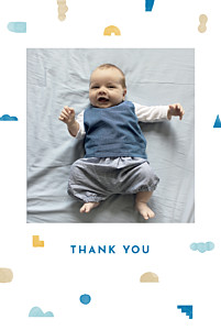 Building blocks blue autumn baby thank you cards
