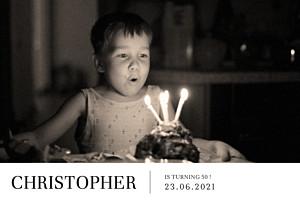 Modern photo landscape white photo birthday invitations
