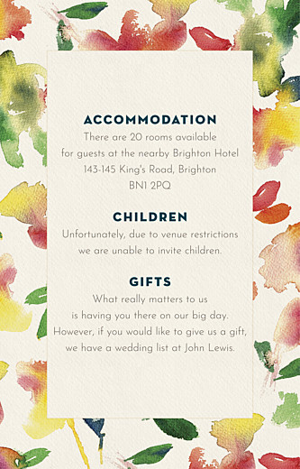 Guest Information Cards Bloom beige - Page 1