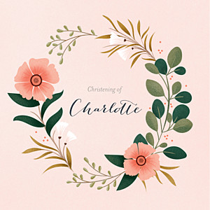 Daphné (4 pages) spring christening invitations
