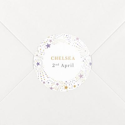 Liberty stars purple christening stickers