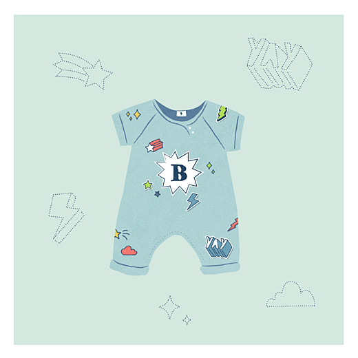 Baby Announcements Superheroes (4 pages) green