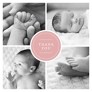 Medallion (4 pages) pink pink baby thank you cards