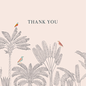 Birds of paradise (4 pages) pink baby thank you cards