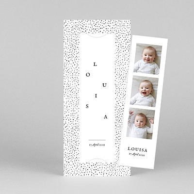 Little dots (bookmark) pink baby thank you cards