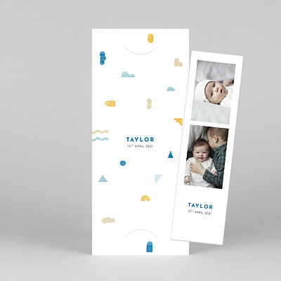 Building blocks (bookmark) blue yellow baby thank you cards