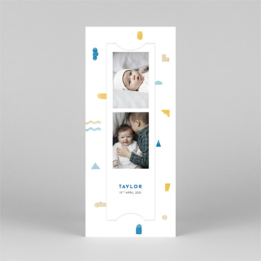 Baby Thank You Cards Building blocks (bookmark) blue - View 2