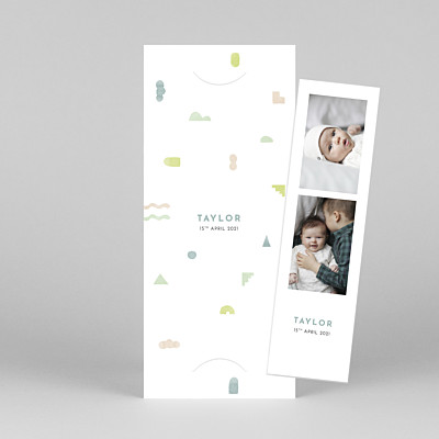 Building blocks (bookmark) light green white baby thank you cards