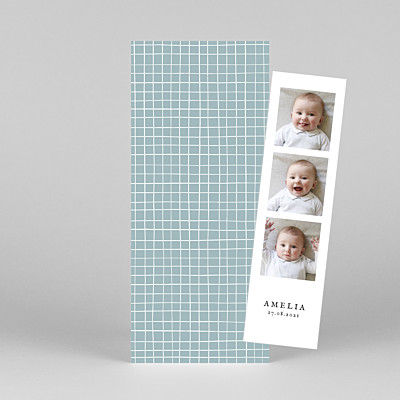 Scandi squares (bookmark) blue autumn baby thank you cards