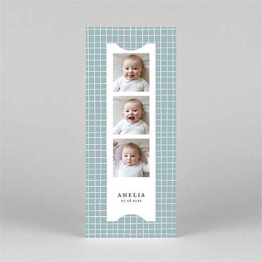 Baby Thank You Cards Scandi squares (bookmark) blue - View 2