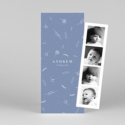 Elegant foliage (bookmark) blue petite alma  baby thank you cards