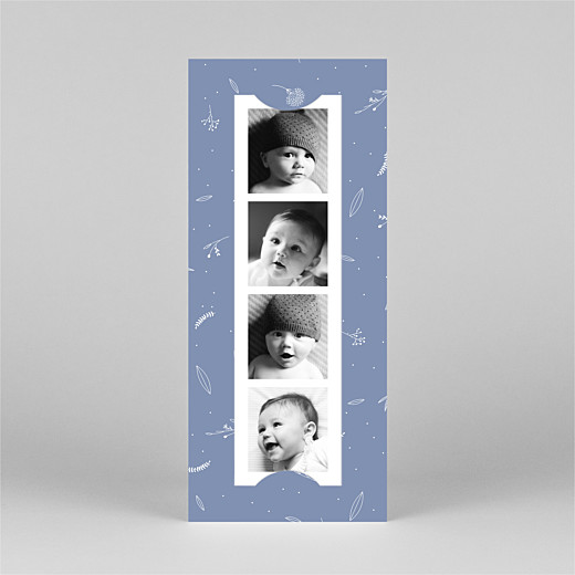 Baby Thank You Cards Elegant foliage (bookmark) blue - View 2