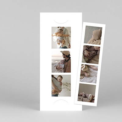 Photo booth (bookmark) white white baby thank you cards