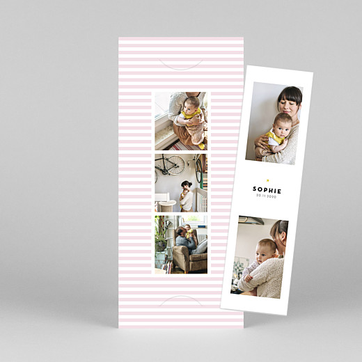 Baby Thank You Cards Pastel stripes (bookmark) pink - View 1