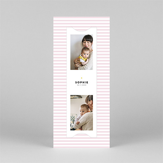 Baby Thank You Cards Pastel stripes (bookmark) pink - View 2