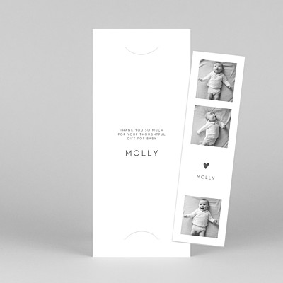 Lovely heart (bookmark) white white baby thank you cards