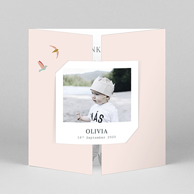 Birds of paradise pink gatefold baby thank you cards