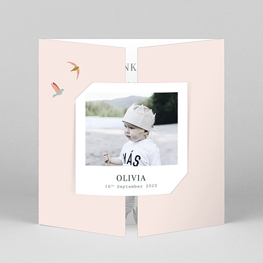 Baby Thank You Cards Birds of paradise pink - View 1