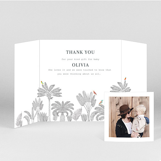 Baby Thank You Cards Birds of paradise pink - View 2