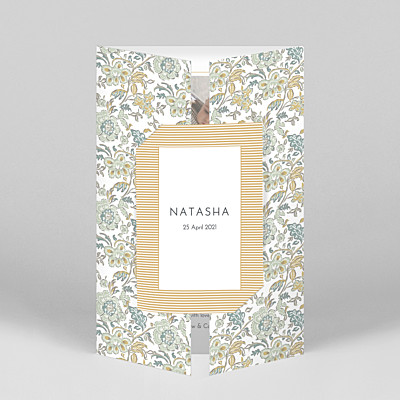 Victorian blossom (gatefold) portrait blue mr & mrs clynk  baby thank you cards