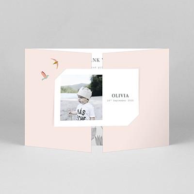 Birds of paradise gatefold landscape pink animal baby thank you cards