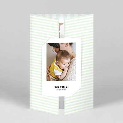 Pastel stripes (gatefold) portrait blue baby thank you cards