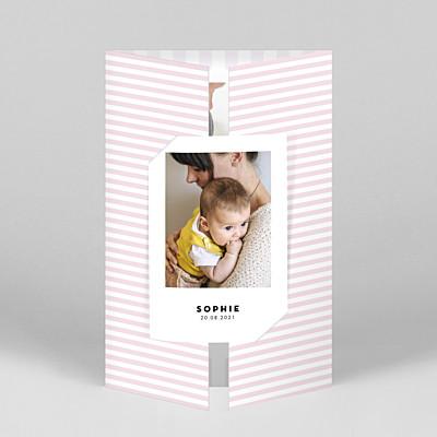 Pastel stripes (gatefold) portrait pink purple baby thank you cards